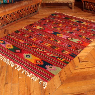 Unique Zapotec Hand-Loomed Red Area Rug