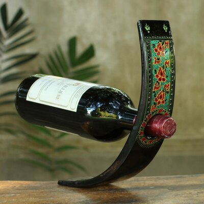 Lacquered Wood 1 Bottle Tabletop Wine Bottle Rack