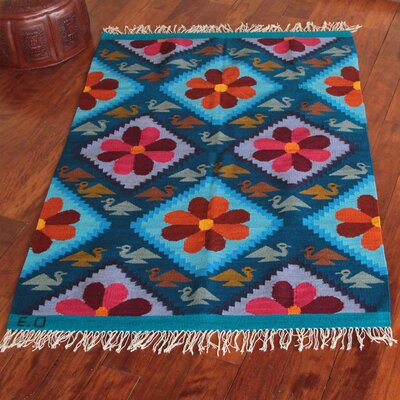 Artisan Crafted Vibrant  Flowers of Peace Expertly Hand Woven South American Wool Home Decor Area Rug