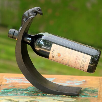 Hand-Crafted Wood 1 Bottle Tabletop Wine Bottle Rack