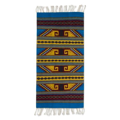 Hand-Woven Blue/Yellow Are Rug