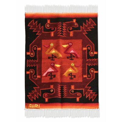 Bird Handmade Red Area Rug