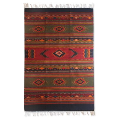 Geometric Handmade Green/Red Area Rug