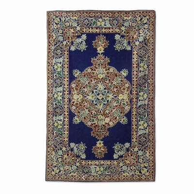 Chain Stitched Handmade Blue / Gold Area Rug