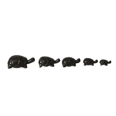 Hand Carved Ebony Wood Turtle 5 Piece Figurine Set 203658