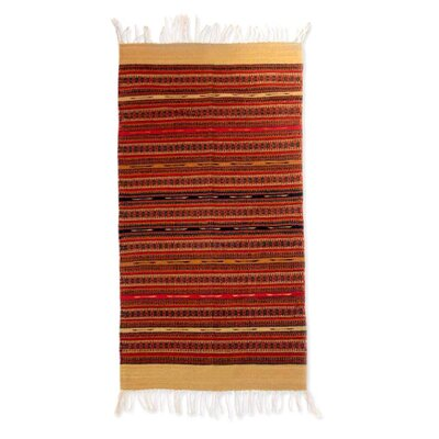 Zapotec Handmade Orange Area Rug