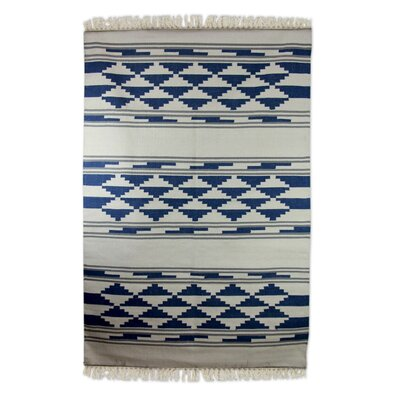 Ziggurat Hand-Loomed Blue / White Area Rug
