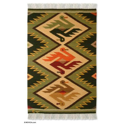 Bird Wedding Green / Beige Area Rug