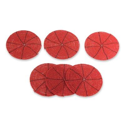 Beaded Coaster Color: Scarlet 210087