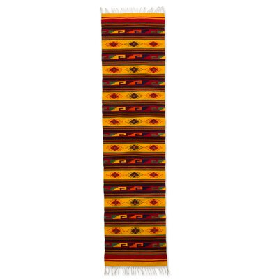 Authentic Zapotec Hand-Woven Yellow Area Rug