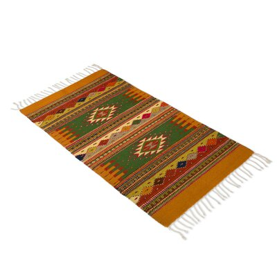 Fair Trade Authentic Zipotec Nature Inspired Golden Meadows Expertly Hand Woven Mexican Wool Home Decor Area Rug