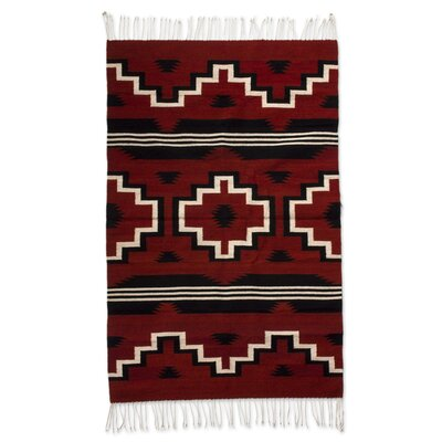Hand Woven Wool Red Area Rug