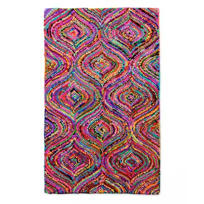 Patterned Handmade Pink/Purple Area Rug Rug Size: 2 x 3