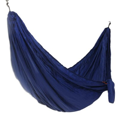 Parachute Nylon Camping Hammock Size: Double, Color: Navy Blue