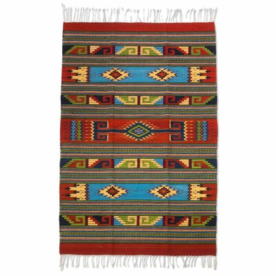 Authentic Zapotec Hand-Woven Red/Blue Area Rug