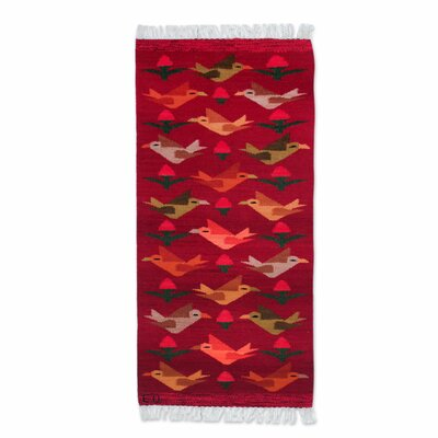 Peruvian Bird Hand-Woven Red Area Rug