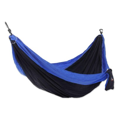 Parachute Portable Nylon Camping Hammock Color: Dark Blue/Light Blue, Size: Double