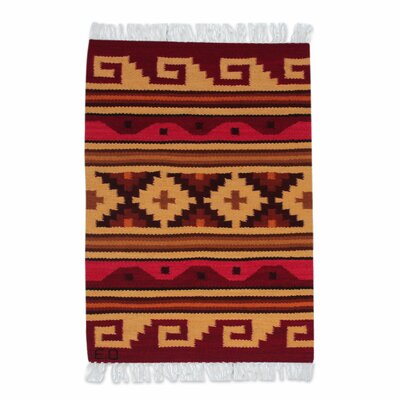 Petite Andean Geometric Hand-Woven Red/Gold Area Rug
