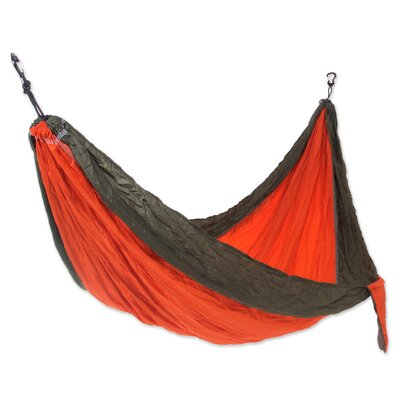 Parachute Portable Nylon Camping Hammock Color: Orange/Green, Size: Single