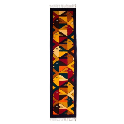 Modern Zapotec Handmade Yellow/Black Area Rug