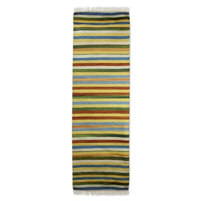 Dhurrie Modern Striped Handmade Yellow/Green Area Rug