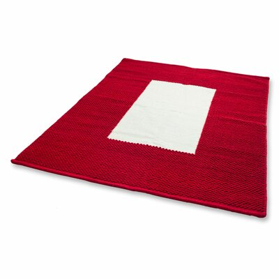 Border Modern Hand-Loomed Red/White Area Rug