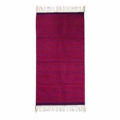 Authentic Zapotec Hand-Woven Pink/Purple Area Rug