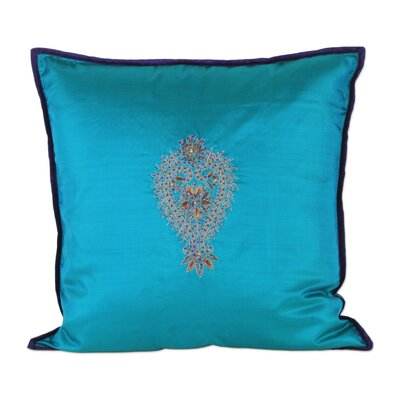 Embroidered 100% Silk Pillow Cover
