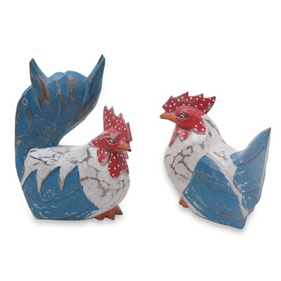 Rustic Hand Carved Chicken 2 Piece Figurine Set 256032