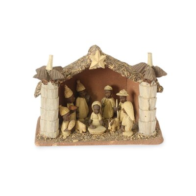 African Palm House Wood Nativity Scene 202356
