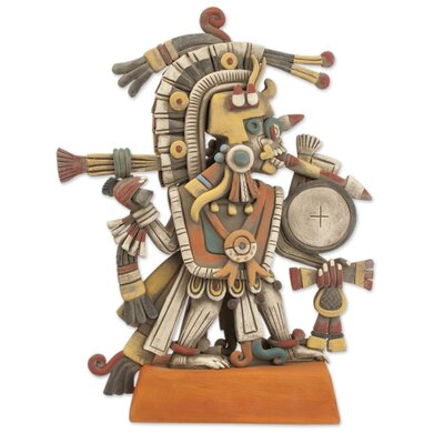 Signed Artisan Crafted Aztec Ceramic Sculpture 246893