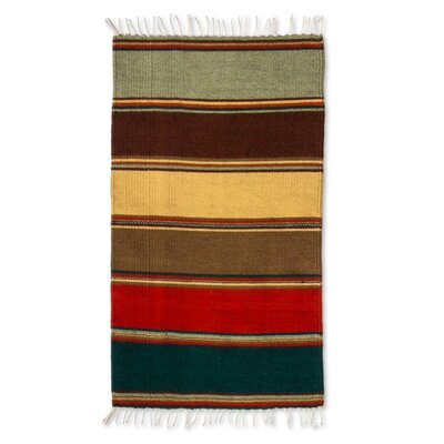 Zapotec Striped Hand-Loomed Brown/Red Area Rug