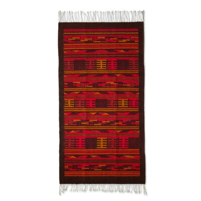 Zapotec Handmade Brown / Orange Area Rug