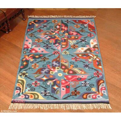Handmade Blue Animal Themed Hand Woven Peruvian Naturally Dyed Wool Home Decor Area Rug