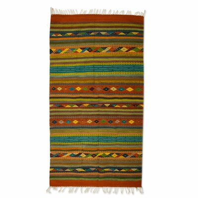 Zapotec Hand-Loomed Green / Orange / Blue Area Rug