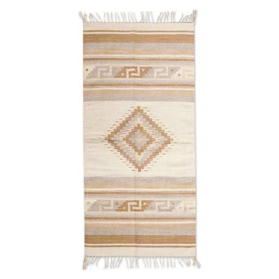 Zapotec Hand-Loomed Tan / Ivory Area Rug