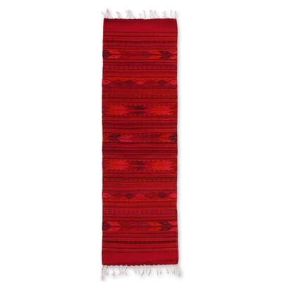 Mcfarlin Intricate Geometric Crimson Expertly Hand Woven Mexican Wool Home Decor Runner Rug