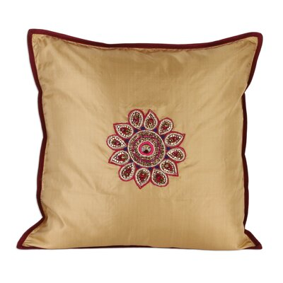 Hand Embroidered Silk Pillow Cover
