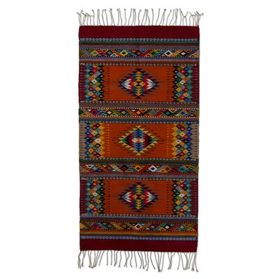 Intricate Star Motif Zapotec Hand-Woven Brown / Blue Area Rug