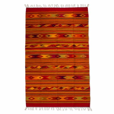 Authentic Zapotec Hand-Woven Orange Area Rug