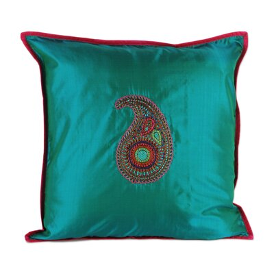 Hand Embroidered Teal Silk Pillow Cover