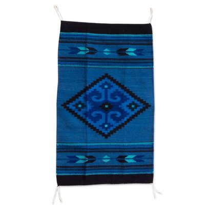 Authentic Zapotec Hand-Woven Blue Area Rug
