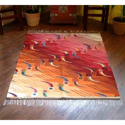 Artisan Crafted Animal Themed Sunset Toucans Hand Woven Peruvian Naturally Dyed Wool Home Decor Area Rug