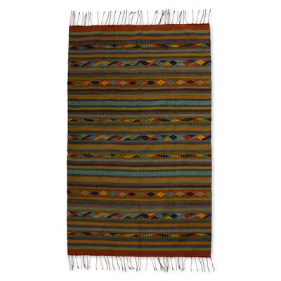 Zapotec Hand-Woven Green / Blue Area Rug