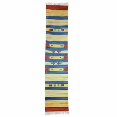 Dhurrie Geometric Hand-Woven Blue/Yellow Area Rug Rug Size: Runner 2 x 96