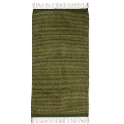 Authentic Zapotec Hand-Woven Green Area Rug