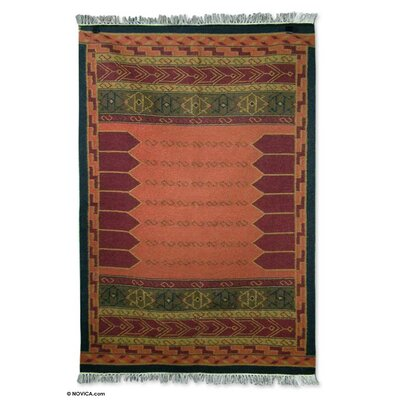 Hand-Loomed Red / Brown Area Rug