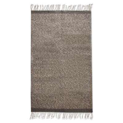 Artisan Crafted   Grey Skies Expertly Hand Woven Mexican Wool Home Decor Area Rug