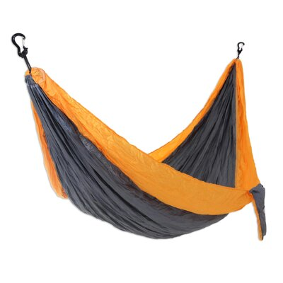 Parachute Portable Nylon Camping Hammock Color: Gray/Yellow, Size: Single