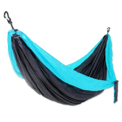 Parachute Portable Nylon Camping Hammock Size: Double, Color: Gray/Turquoise